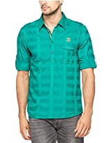 Spykar Men Cotton Green Casual Shirt (X-Large)