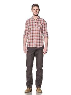 Just A Cheap Shirt Men's Blake Checkered Shirt (Grey/Red)