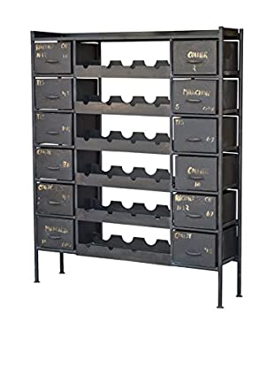 CDI Furniture Industrial Iron Wine Bottle Chest, Grey