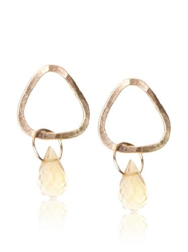 Melissa Joy Manning 14K Gold Citrine Mini Triangle Stud Earrings