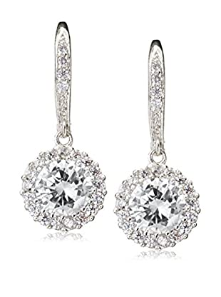 CZ by Kenneth Jay Lane Classic Round CZ Framed Leverback Earrings
