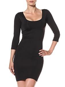 Cass Women's Cropped Sleeve Slip Dress (Black)