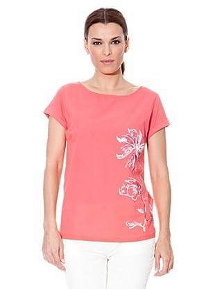 Cortefiel Camiseta Flor (Coral)