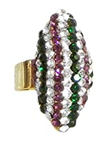 DollsofIndia Stone Studdeds Adjustable Ring - Front Design - 1.25 x 0.75 inches - Green, Purple