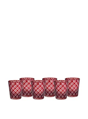 Impulse! Set of 6 Monceau Rocks Glasses (Ruby)