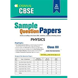 Oswaal CBSE Sample Question Papers: Physics for Class 12