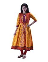 aarr V-Neck 3/4th Sleeve Cotton Printed Anarkali Kurta For Women