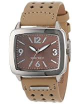 Nine West Women's NW1081BNCM Square Silver-Tone and Tan Strap Watch