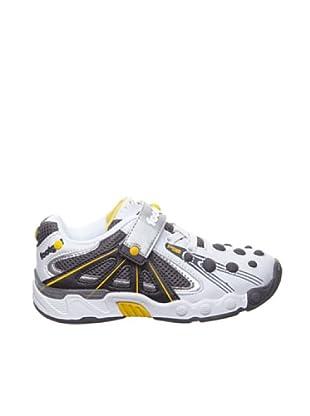 Sneakers Klett und Schnürung (weiss/Grau/silber)