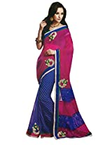 Faux Georgette Saree in Blue Colour for Party Wear