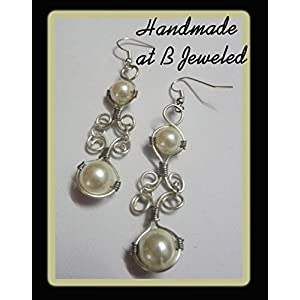 B Jeweled Pearl Wrapped Earring