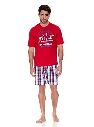 Abanderado Pijama Algodón Estampado (Rojo / Blanco / Azul)