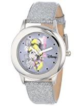Disney Kids' W000989 Tween Tinker Bell Stainless Steel Silver Glitter Leather Strap Watch