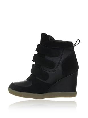 Buffalo London ES 30140 SUEDE GARDA 137196 - Zapatillas fashion de cuero  mujer (Negro)