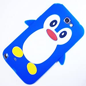 Penguin Silicone Jelly Back Case Cover for Samsung Galaxy Note 2 N7100 - Blue / White