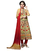 Suchi Fashion Beige & Red Embroidered Cotton Semi Stitched Salwar Suit