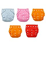 WonderKart New Adjustable Reusable Lot Baby Washable Cloth Diaper Nappies Pack Of 5 - Color May Very