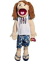 """Sunny Toys 28"""" Girl Brunette Haired In Hawaiian Shirt Hand Slit Puppet"""