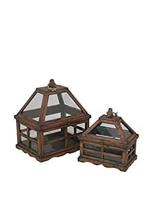 Three Hands Set of 2 Medium Wooden Terrariums