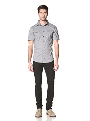 Dorsia Men's Ryan Mini Check Shirt (Black)