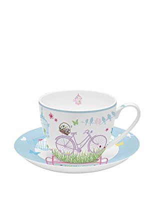 Easy Life Design Tazza Colazione con Piatto in Porcellana Bone China Spring 350 ml