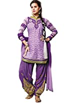 Purple Foux Cotton Semi Party Wear Zari Thread Embroidery Patiala Suits 6004
