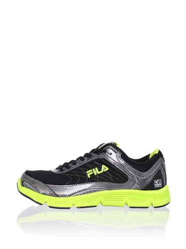 Fila Kid's Stencil Lite Running Shoe (Little Kid/Big Kid) (Black/Castlerock/Lime Punch)
