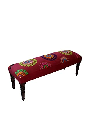 Mélange Home Suzani Embroidered Bench, Red