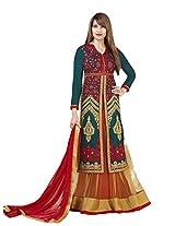 Adah Fashions Womens Brasso Anarkali Dress Material (569-4001 _Green _42)