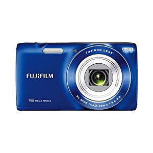 Fujifilm FinePix JZ100 14MP Point and Shoot Camera (Blue) with 8x Optical Zoom, Memory Card and Camera Case