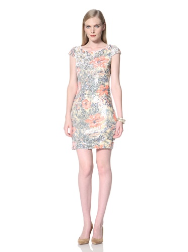 Tahari by A.S.L. Women's Floral Sequin Dress (Coral/Yellow)