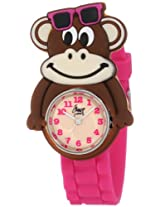 Frenzy Kids' FR2000 Monkey Critter Face With Magenta Rubber Band Watch