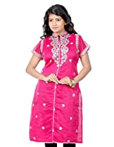 B3Fashion Partywear trendy Pink Chanderi Silk Kurti with Gota laced collar and yoke with gota laced sleeves and Gota Buti work all over with cotton inner lining