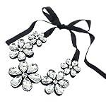 Ribbon Gem Silver Fashion Necklace
