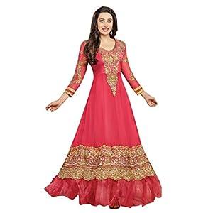 Vibes Women Georgette Patch Work Semi-stitched Salwar Kameez Dress Material (V54-36000 _Pink _Free Size)