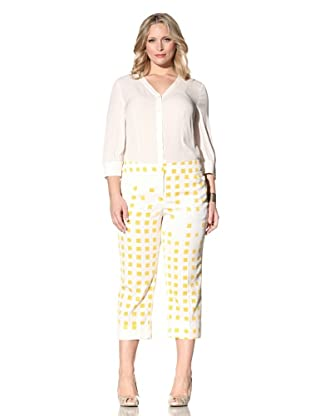Z from Zenobia Women's Plus Stretch Cotton Printed Cropped Pant (sunflower)