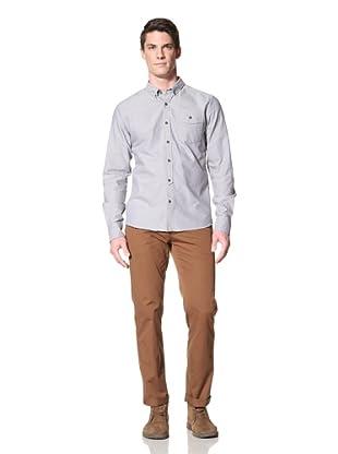 Zanerobe Men's The Ox Long Sleeve Woven Shirt (Blue)