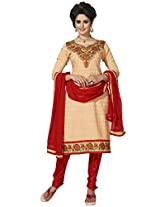 Manvaa Beige And Red Embroidered Suit With Chanderi Cotton Fabric
