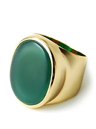 Isharya 18K Gold Plated Green Agate Gem Rocks Ring
