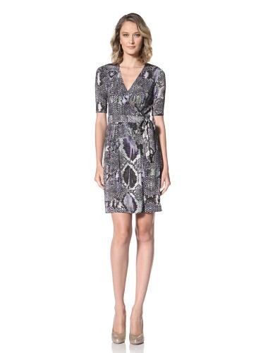 Just Cavalli Women's Wrap Dress (Blue/Black Snake Print)