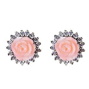 Jewel Paradise Pearl Stud Earring For Women (Pink)