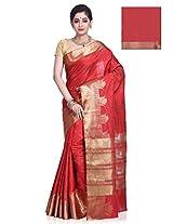 Meghdoot Artificial Tussar Silk Saree (GESMA_MT997_STRAWBERRY Red Color Sari)