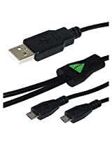 Amzer AMZ22297 USB to Dual Micro USB Y Splitter Twin Charging Handy Cable