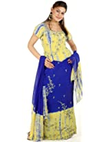 Exotic India Lime and Blue Batik-Dyed Lehenga Choli with Sequins and Embr - Blue