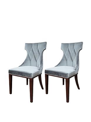 International Design USA Set of 2 Regis Velvet Dining Chairs, Grey