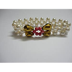 Mona Jewels Pearl And Pink Bead Elastic Bracelet