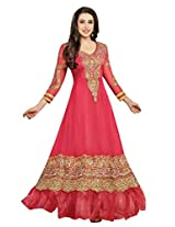 Beautiful Pinkish Red Semi-Stitched Anarkali Suit 36000