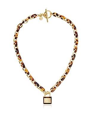 Michael Kors Gold-Tone Tortoise Acetate Padlock Necklace