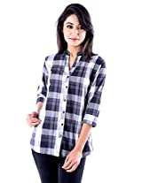 Peppermint Women Cotton Full Sleeves Casual Checked Shirt Black And White Large