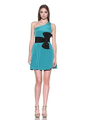 Jay Godfrey Women's One Shoulder Pleated Dress with Bow (Bright Teal/Black)